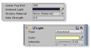 Unity ambient light and directional light color settings