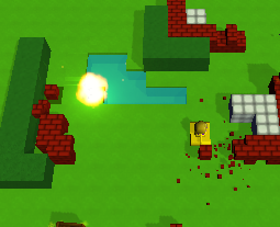 An explosion and brick shards