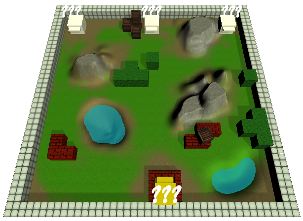 A recent screenshot of the level. Shows the Unity terrain.