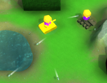 Screenshot showing the new bullet model and the trails they leave